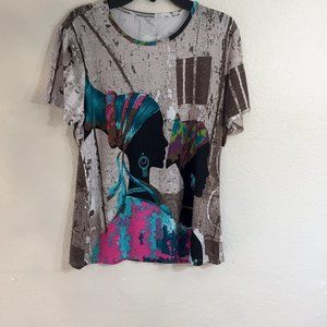 Style & Co African Silhouette Graphic Top